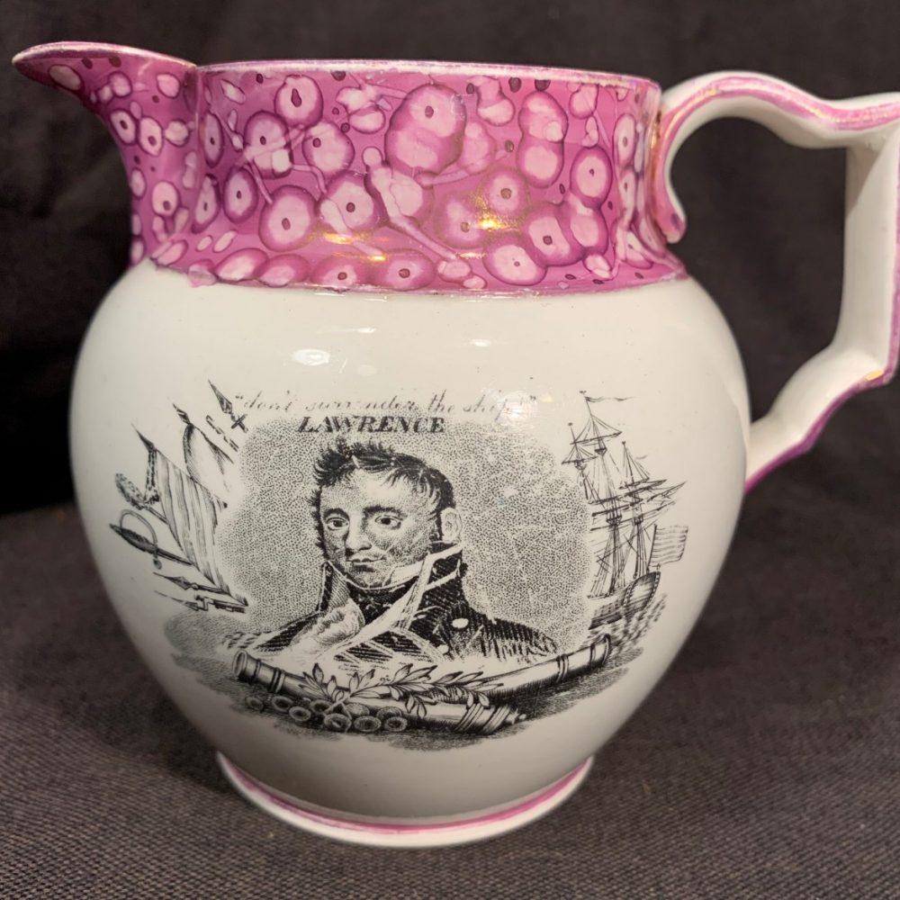 Lawrence and Bainbridge, War of 1812 Naval Luster Jug