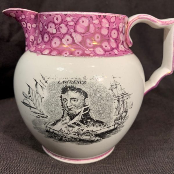 Lawrence and Bainbridge, War of 1812 Naval Luster Jug