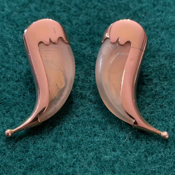 Gold Mounted Tiger Claw Earrings