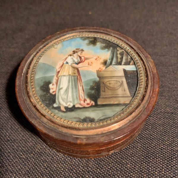 Tortoiseshell Snuff Box with Mourning Miniature