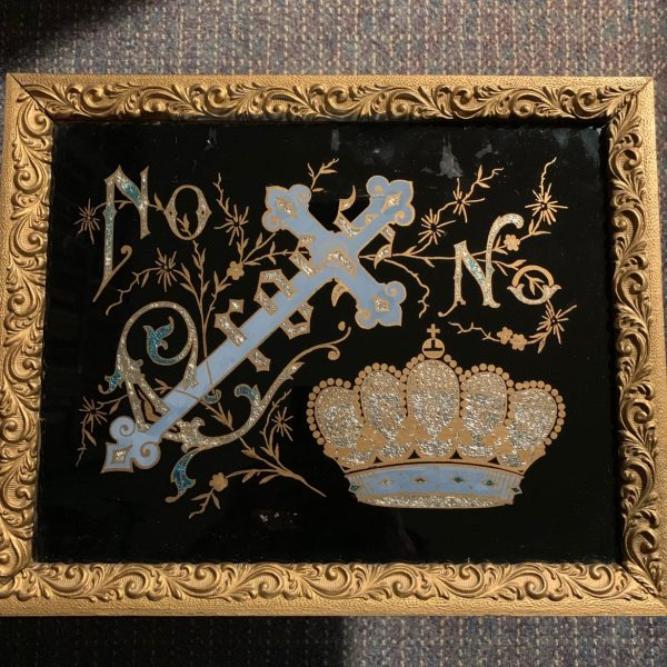 "Victorian Tinsel Picture, ""No Cross, No Crown"""