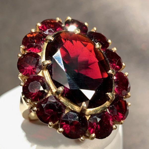 Garnet and Gold Dinner Ring
