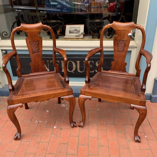 Pair China Trade Queen Anne Armchairs, Huanghuali wood