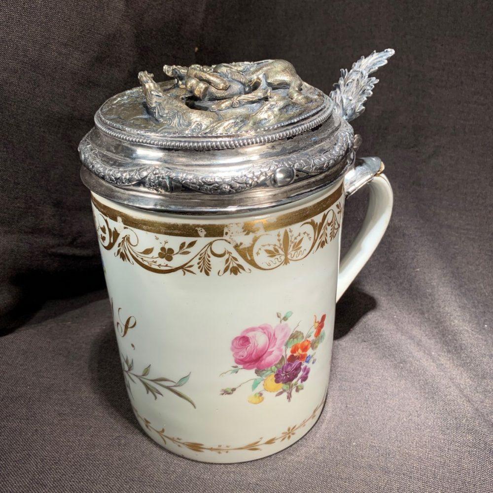 Copenhagen Porcelain Silver Lidded Stein/Tankard