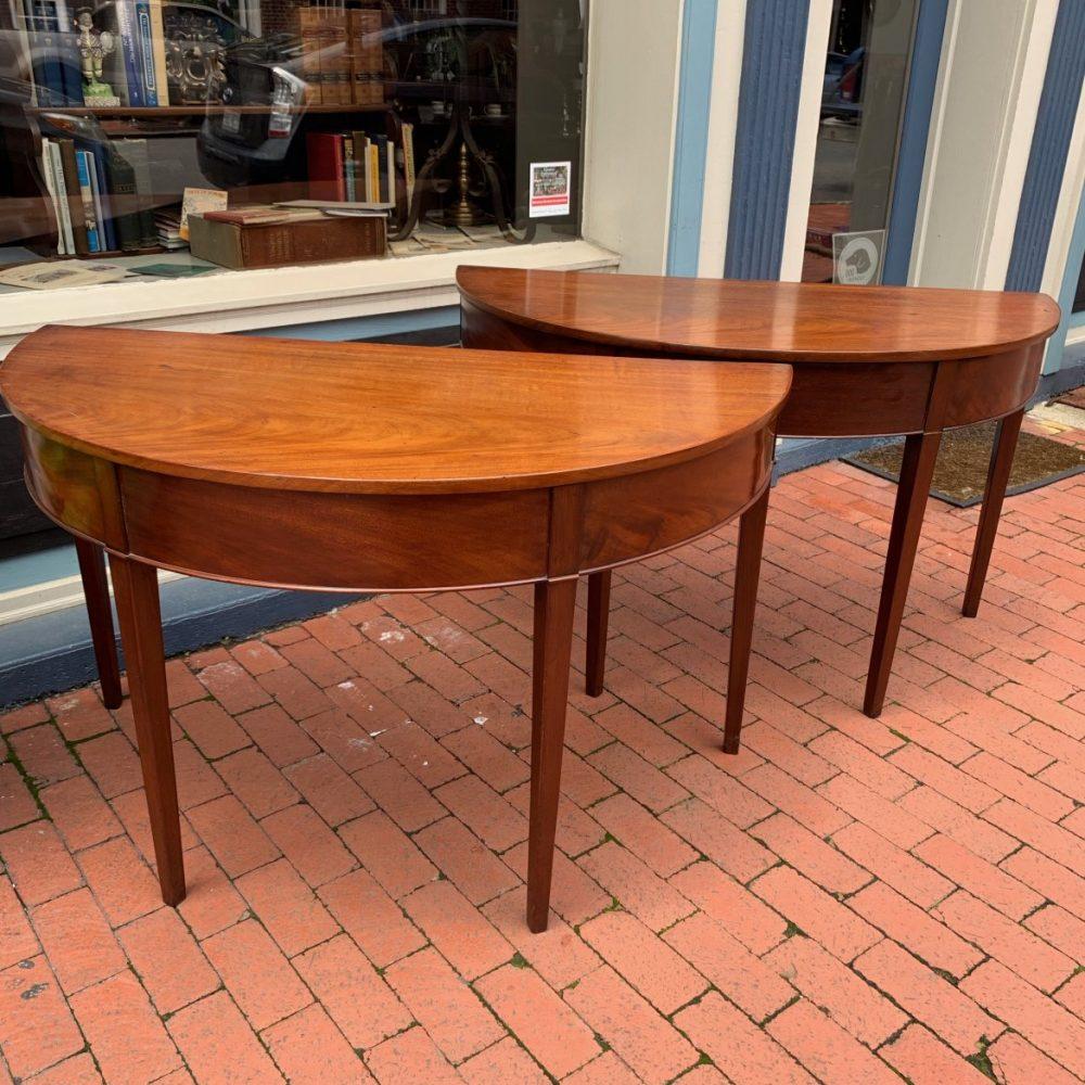 Pair of Virginia Hepplewhite Demi-Lune Tables