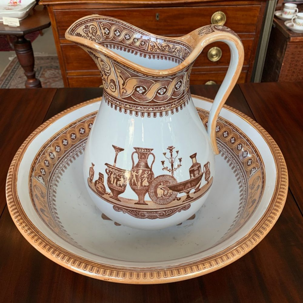 """English Neoclassical Bowl and Pitcher Set, """"Etruscan Vases"""" Dale Hall Pottery"""