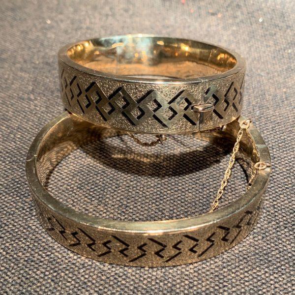 Pair Enameled Gold Victorian Bangle Bracelets