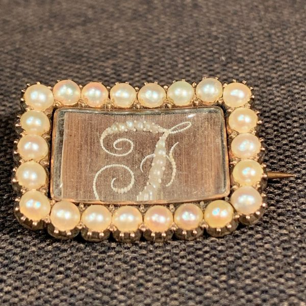 "Gold, Pearl and Hair Mourning Brooch ""F"""