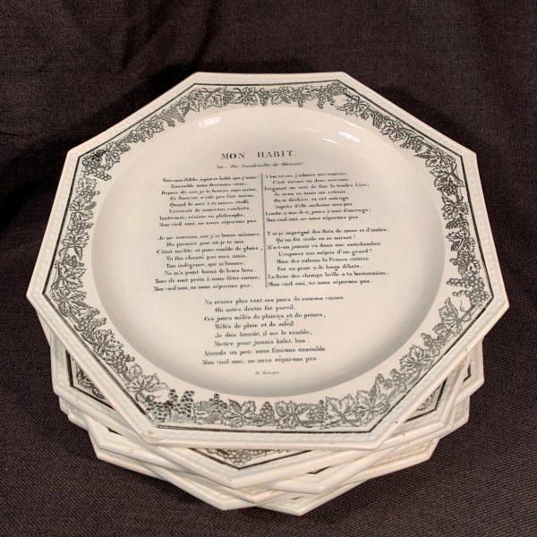Set Six French Creamware, Creil, Plates