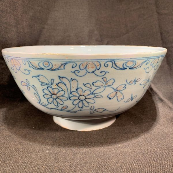 Early Dutch Delft Punch Bowl