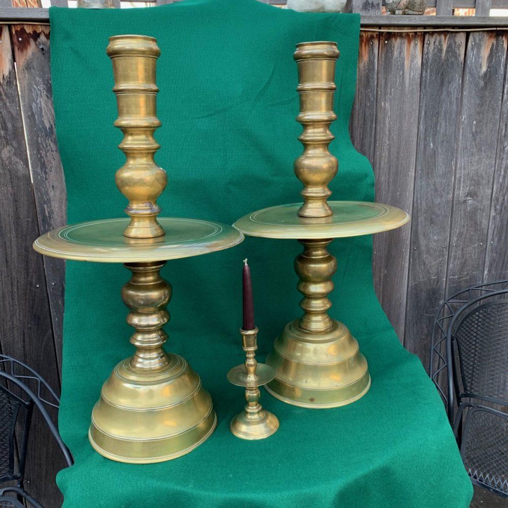 Huge Dutch East Indies Brass Candlesticks