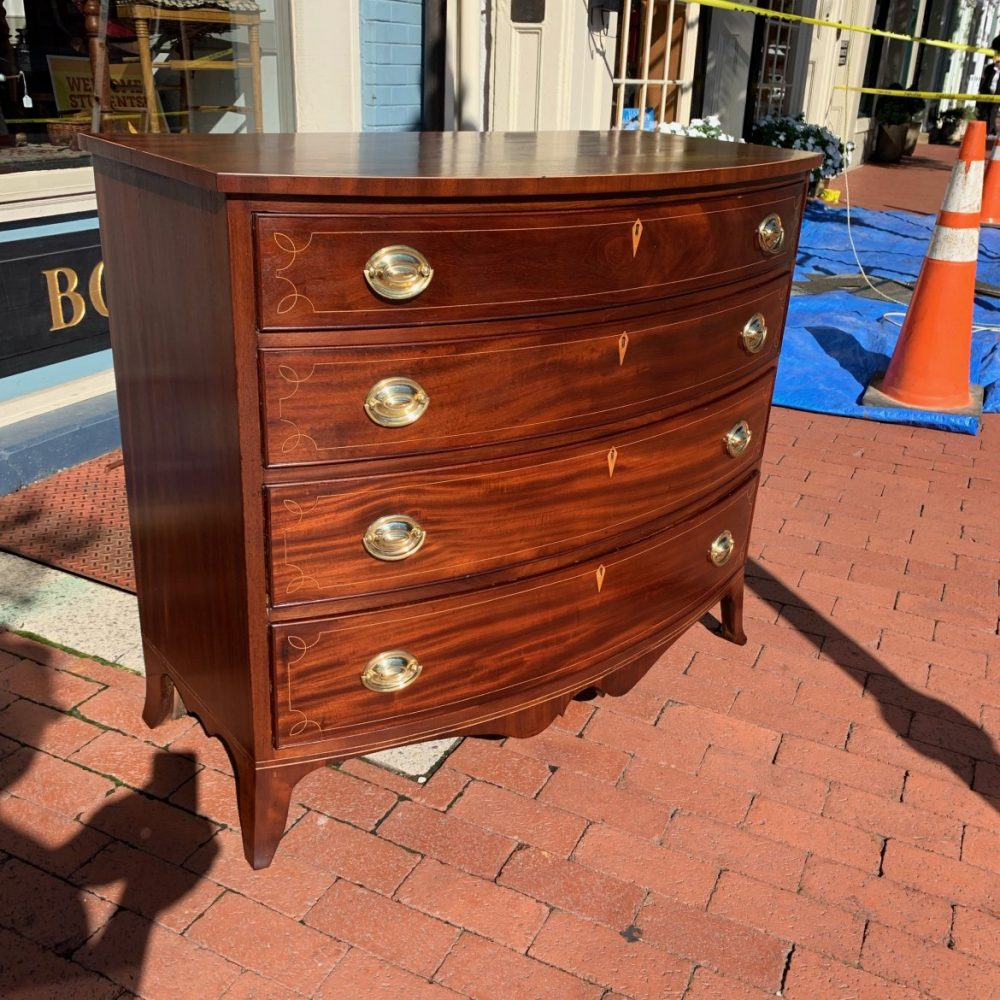 Inlaid Virginia Hepplewhite Bow Front Chest