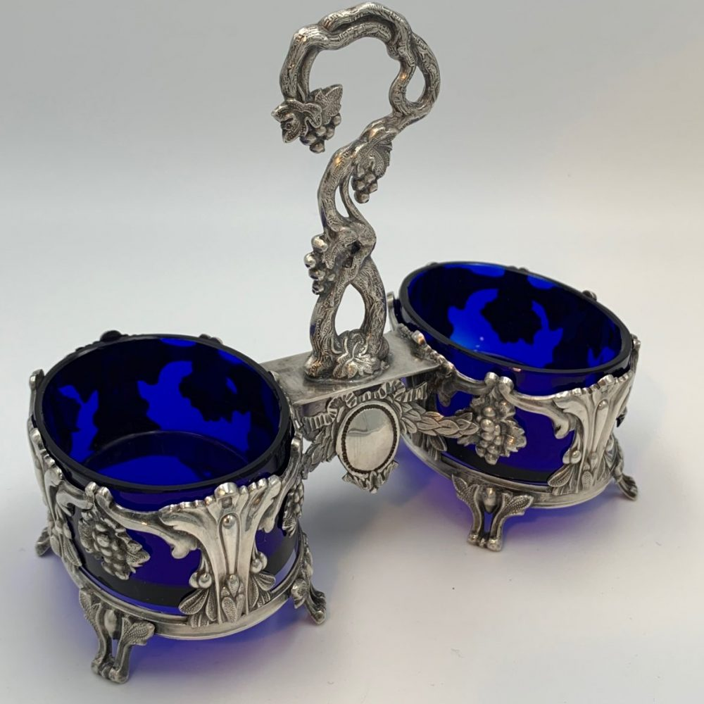 French Silver Condiment Dish with Blue Glass Liners