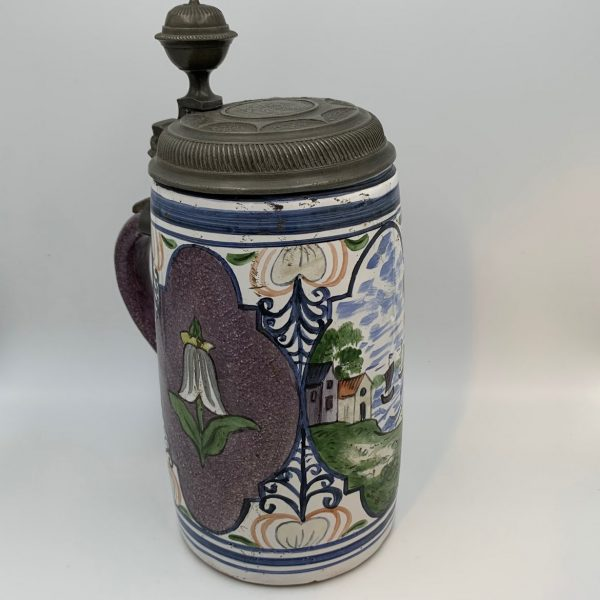 German Faience Tankard/Stein with Pewter Lid