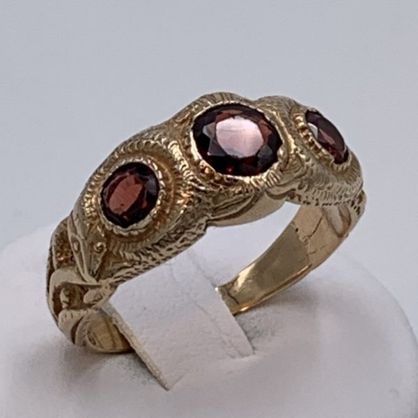 Gentleman's Triple Garnet Ring, 14K