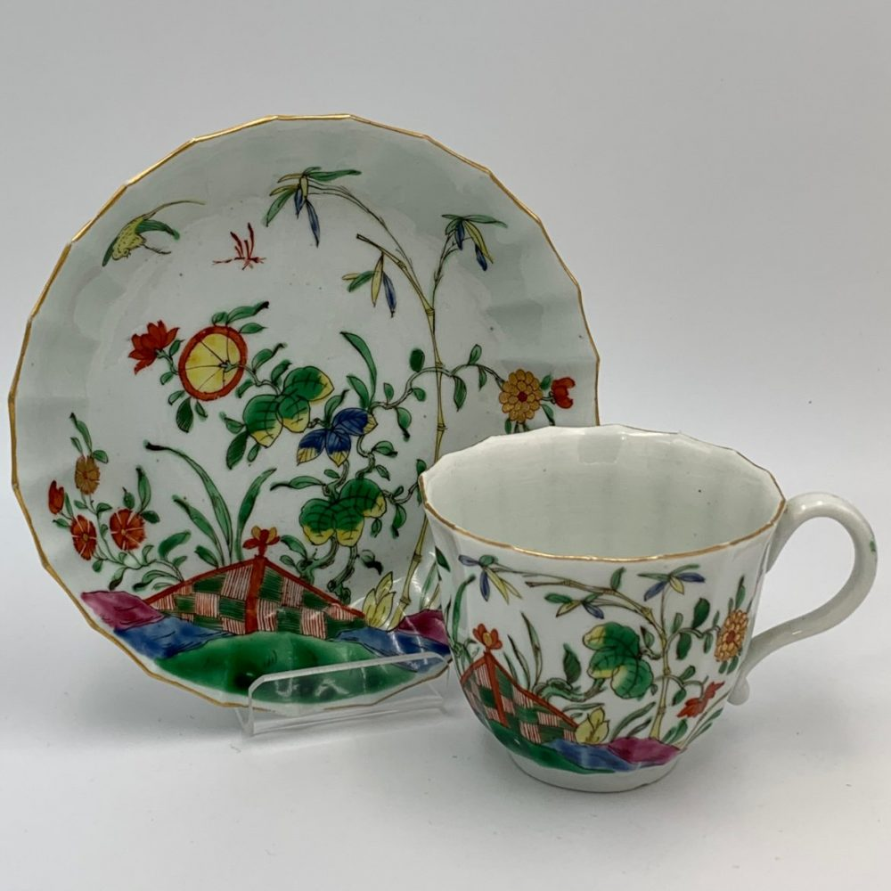 Worcester Porcelain Chequered Tent Cup & Saucer