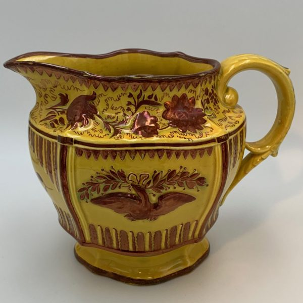 Canary Yellow and Pink Luster Jug With The American Eagle