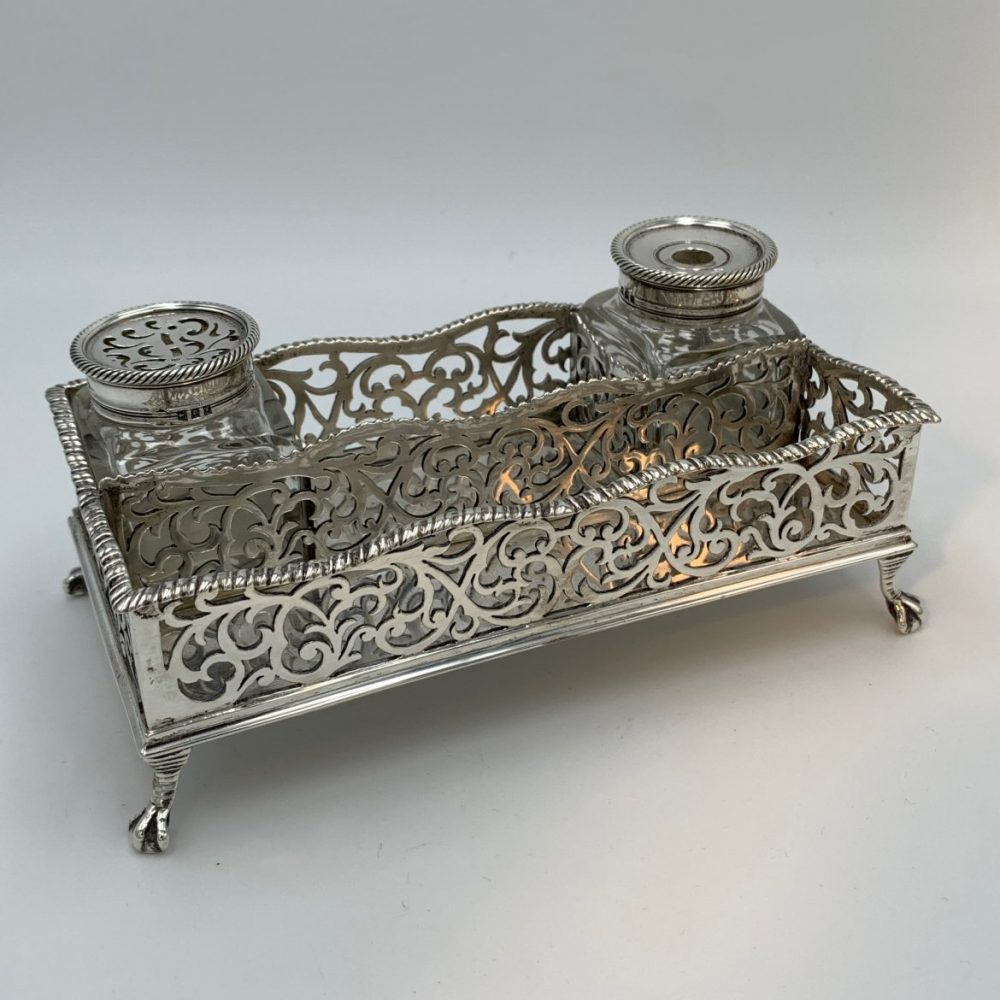 Chippendale Style London Silver Standish