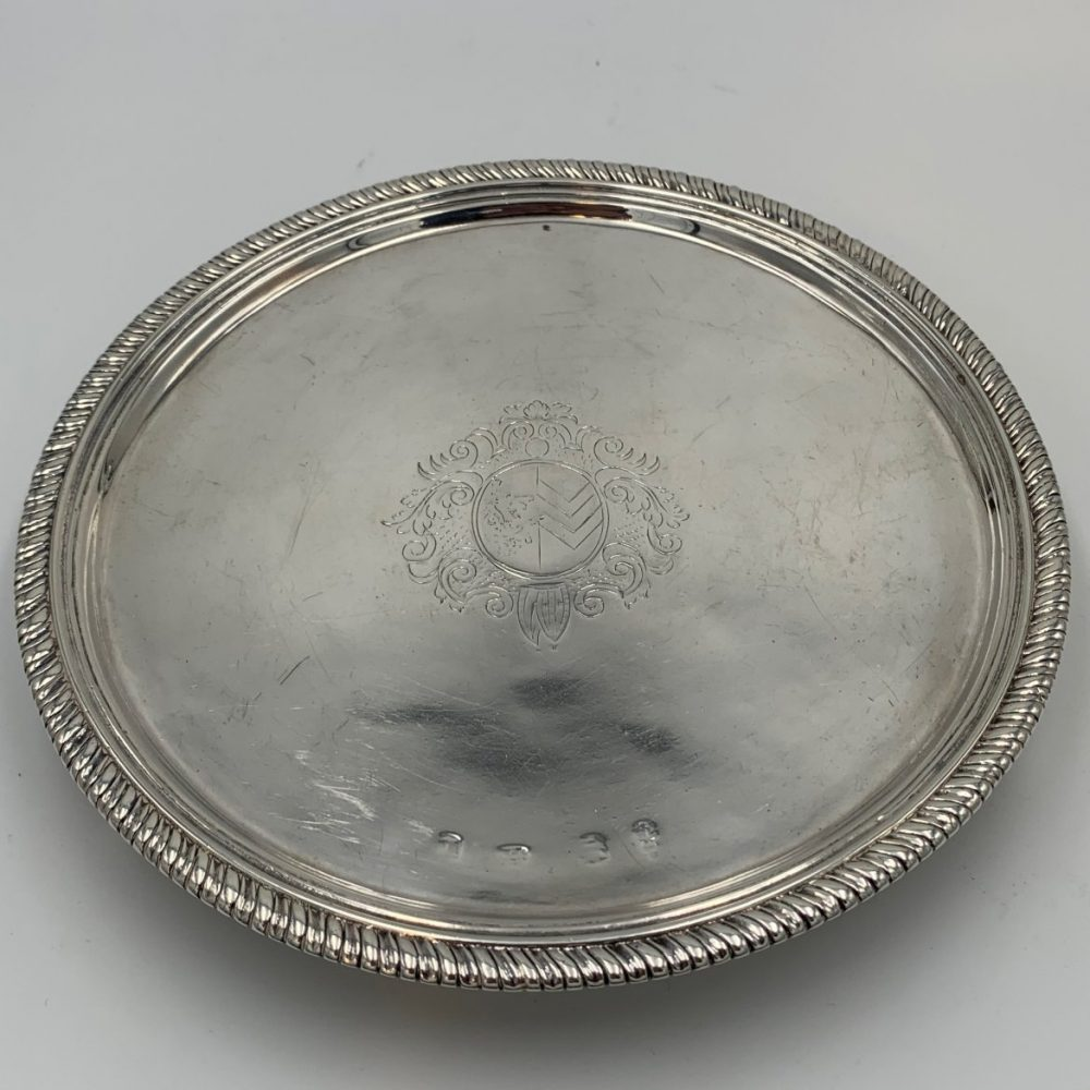 A William & Mary Sterling Salver with Cut Card Decoration