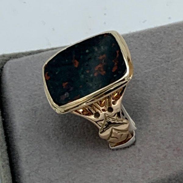Gentleman's Gold Mounted Bloodstone Ring