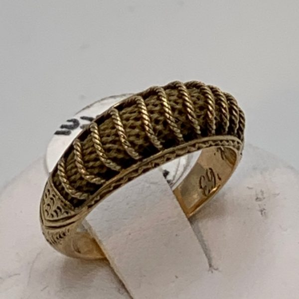 Gold and Hair Mourning Ring