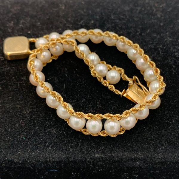Cultured Pearl and 14K Gold Bracelet