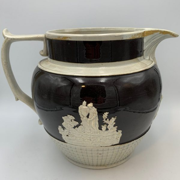 Black Glaze Pearlware Jug with Mourning Scenes
