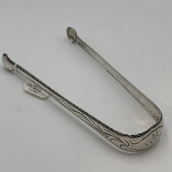 Irish Georgian Silver Sugar Tongs