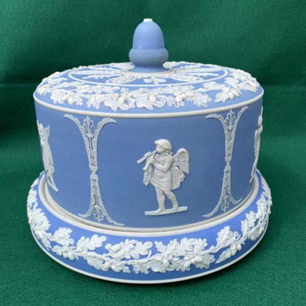 "Blue & White Jasperware Cheese Dome, ""Wedgwood"""