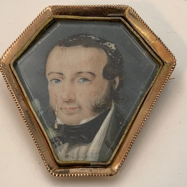 A Hexagonal Miniature Portrait Brooch