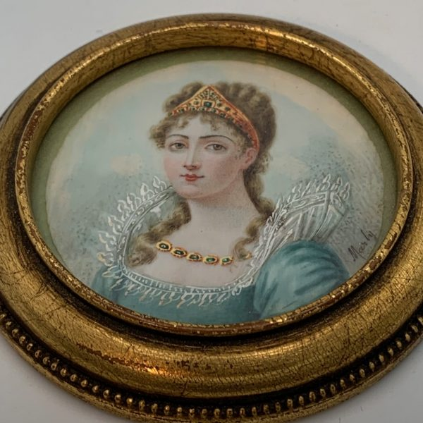 Victorian Miniature Portrait of a Lady in a Tiara