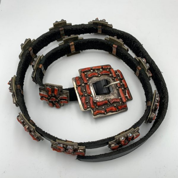 Del Fred Masawytewa, Hopi Sterling and Coral Concho Belt