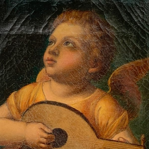 Cherub With Lute, Oil on Canvas