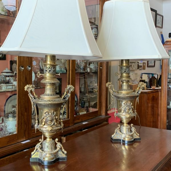 "Pair Napoleon III Bronze Lamps, ""Lampe Aureole, Paris"""