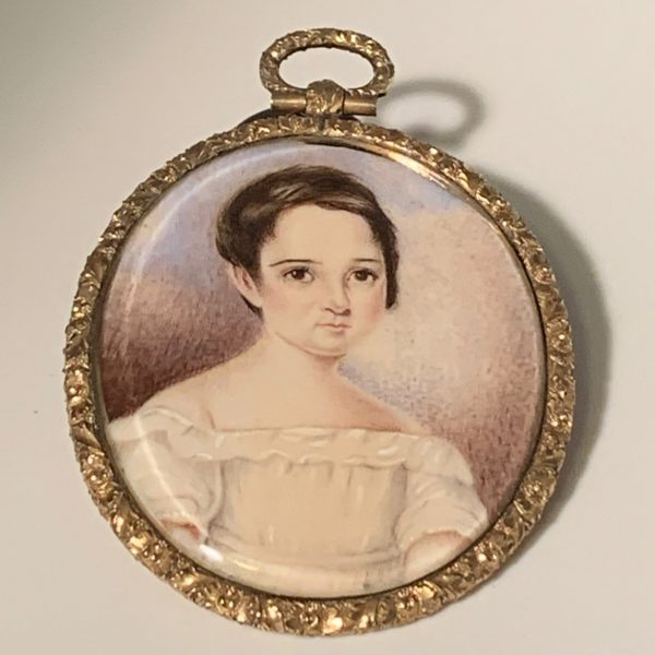 Miniature Portrait of a Girl in a White Dress
