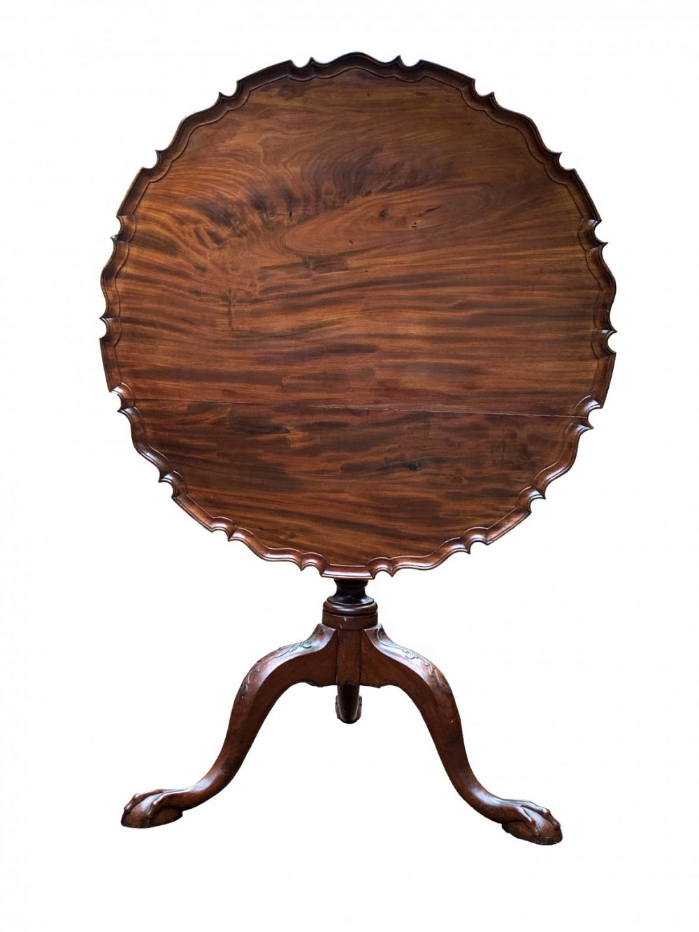 Important Virginia Chippendale Pie Crust Tea Table, School of Robert Walker