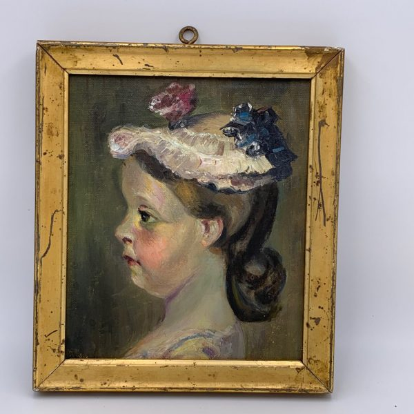 Rosy Cheeked Girl in Her Easter Bonnet, Oil on Artist's Board