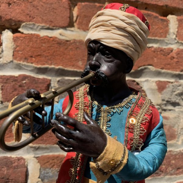 Colorful Blackamoor Figure of a Trumpet Player