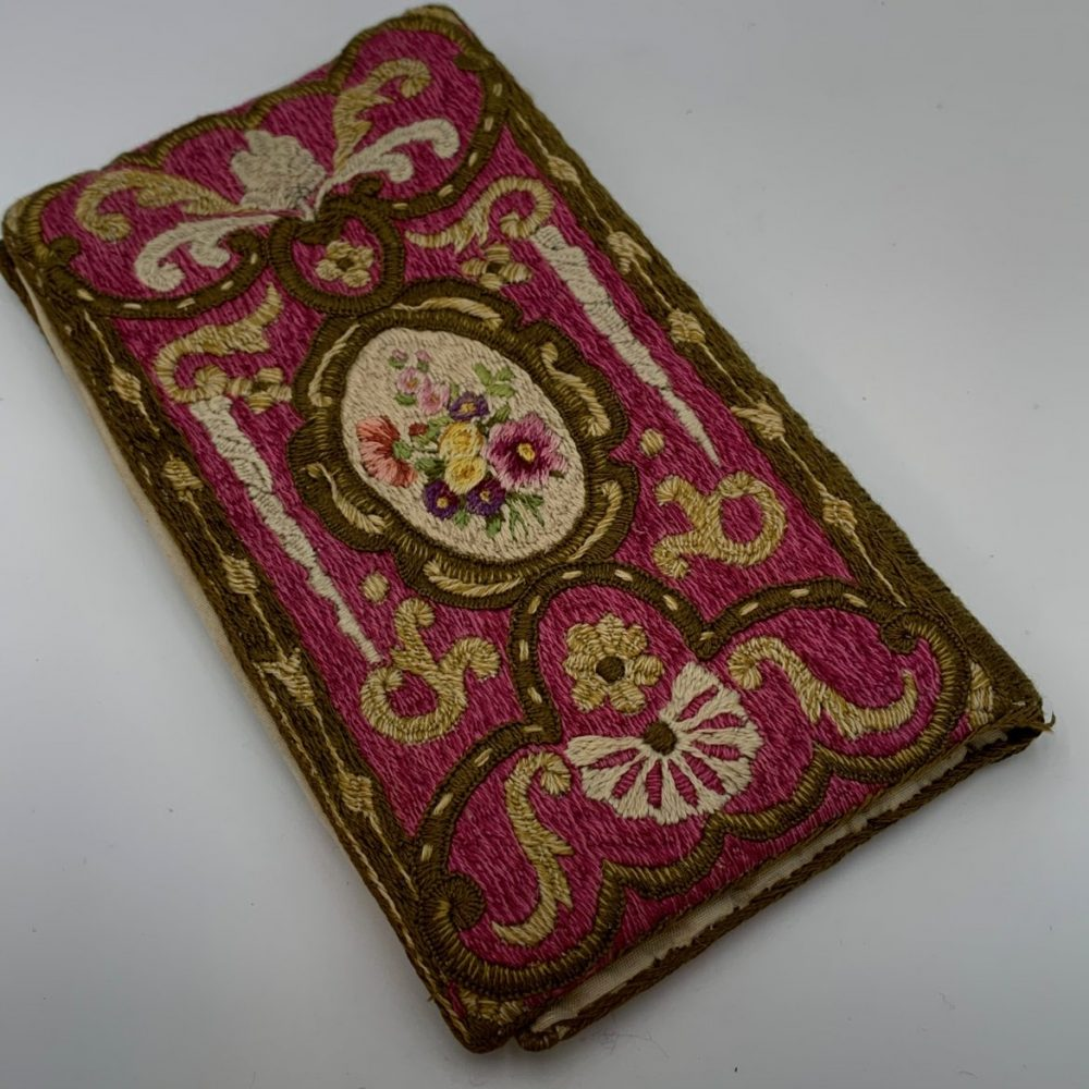 Silk Embroidered Purse With Narwhal Tusk Design