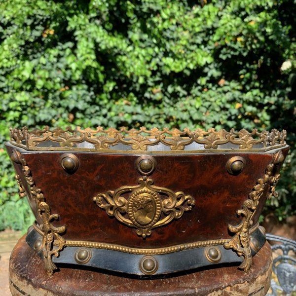 Ormolu Mounted Burl Wood Cache Pot