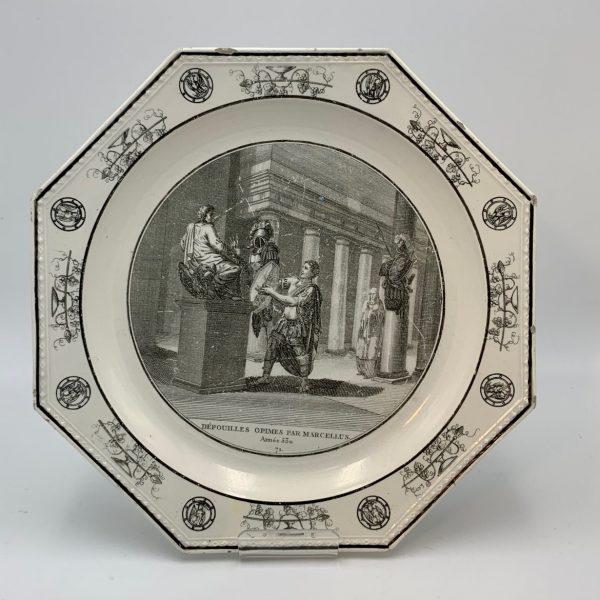 Creil Creamware Plates with Medieval Scenes