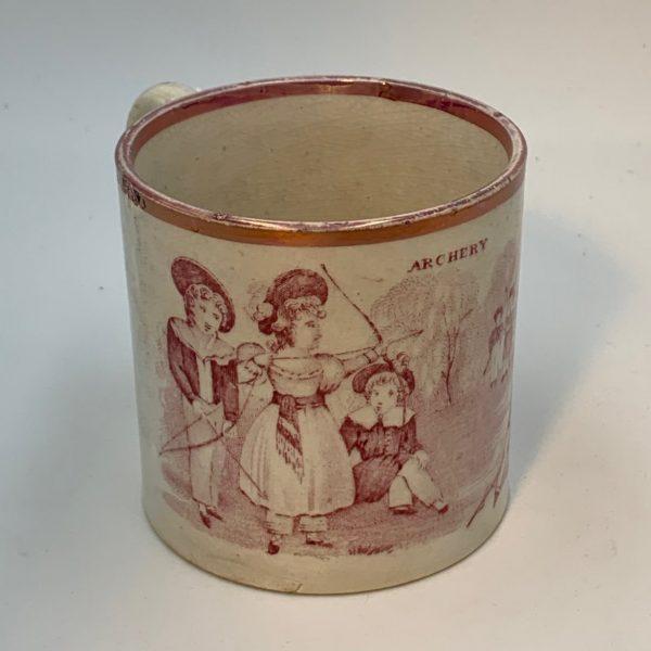 "Davenport Pink Luster Child's Mug ""Archery"""