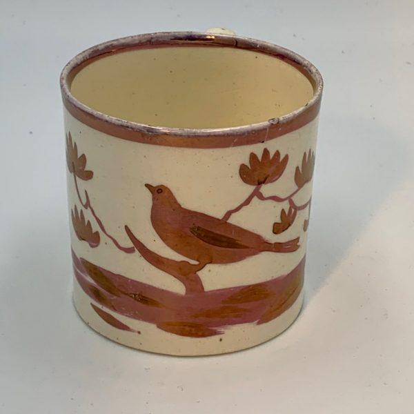 Creamware Child's Mug with Pink Luster Bird