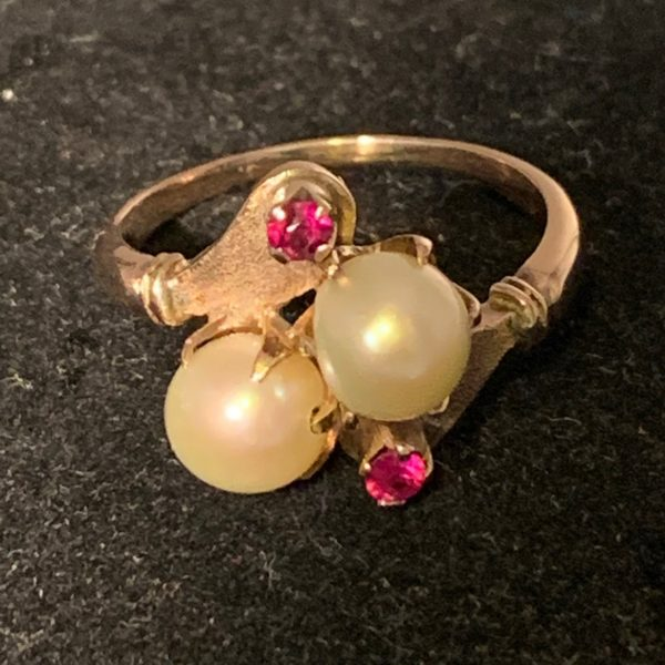 Yellow Gold Ruby and Pearl Ring