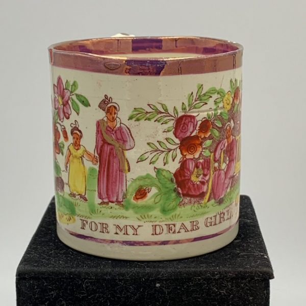 "Creamware Child's Mug ""For My Dear Girl"""