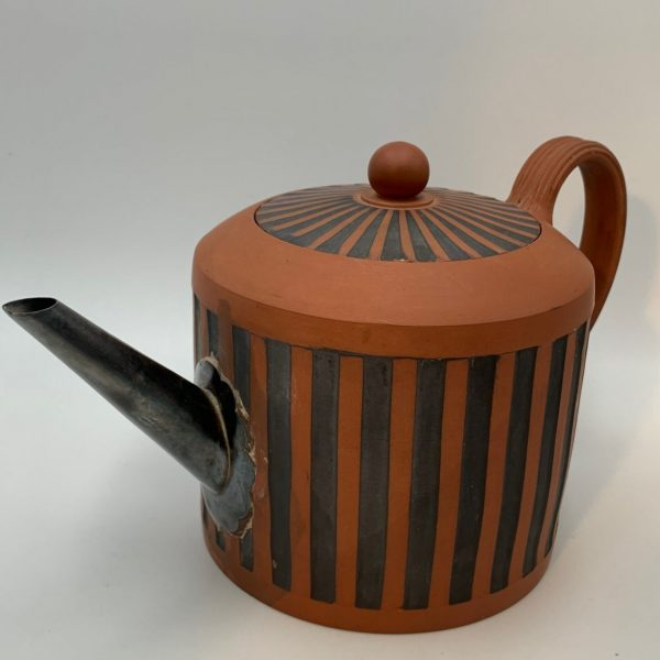 English Redware Teapot with Silver Make-Do Spout