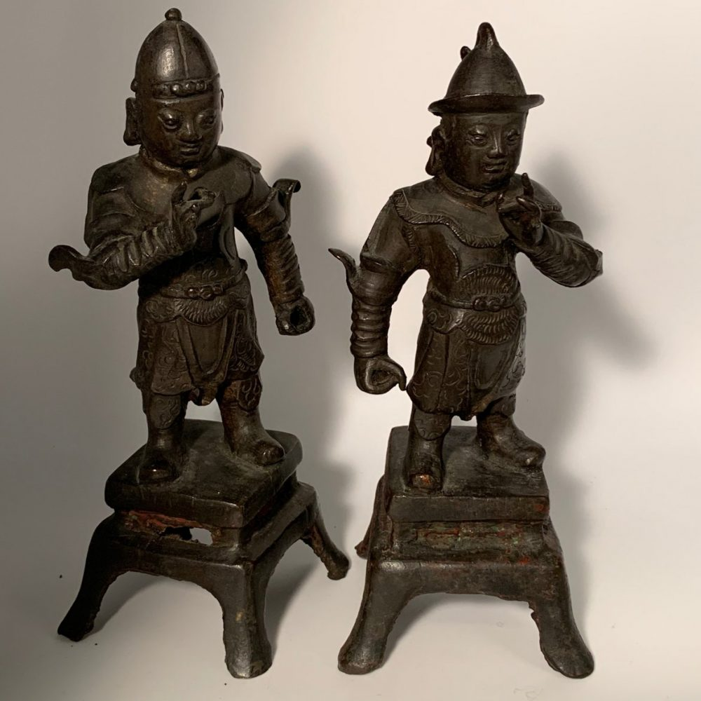 A Pair of Small Ming Period Bronze Soldier Figures