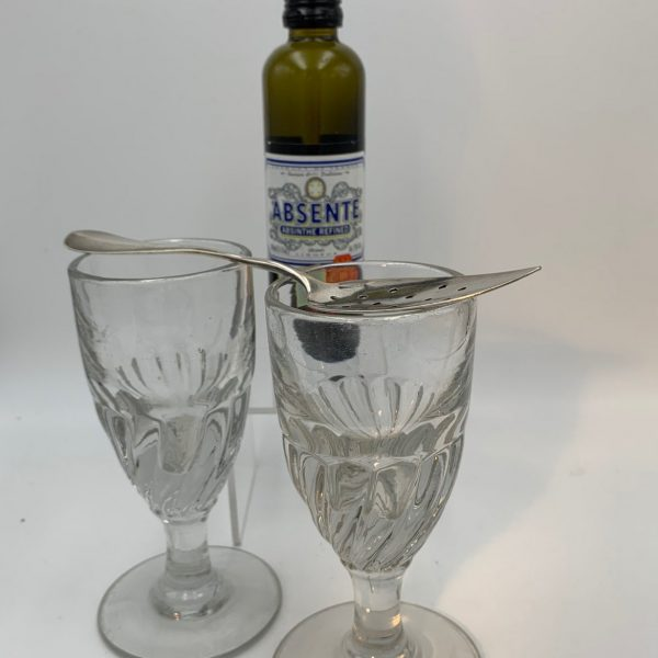 French Absinthe Spoon from Cafe Martin, NY and Two Absinthe Glasses
