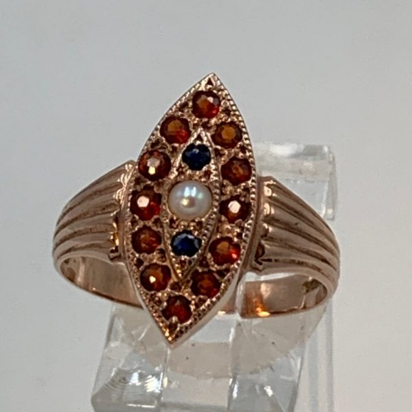 Victorian 9K Rose Gold Garnet, Sapphire and Pearl Ring