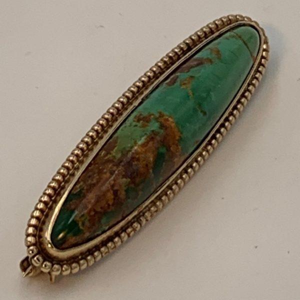 14K Gold and Turquoise Bar Pin